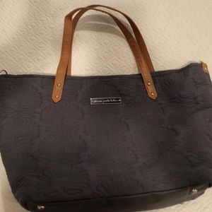 Petunia Pickle Bottom Gray Quilted Diaper Bag